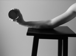 elbow on table