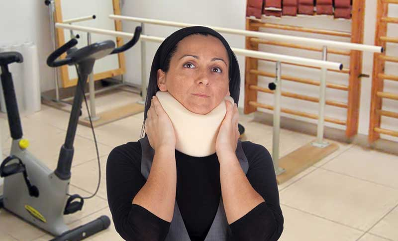 woman with cervical collar (neck brace)