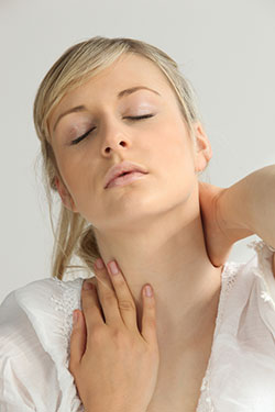 young woman with neck pain