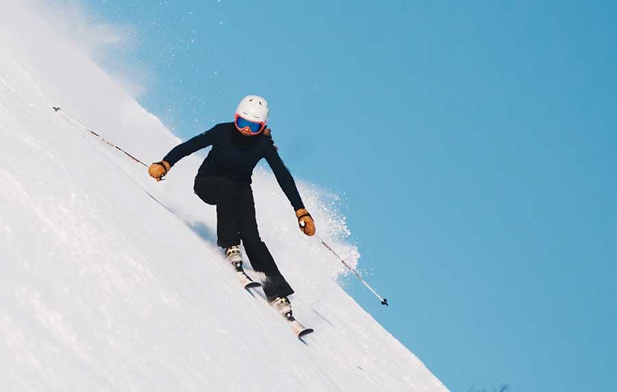 ski racer on steep hill