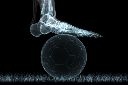 x-ray of soccer ball and foot